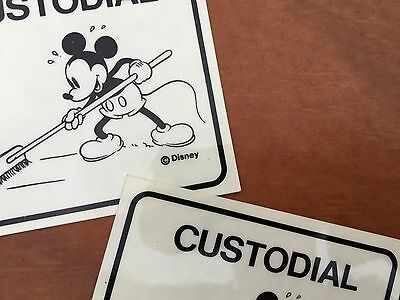 Vintage Disneyland Custodial sign  graphic prop set of two  RARE 1970's -1980's