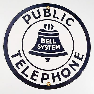 Antique Bell System Public Telephone 8⅝ Diameter Porcelain Advertising Sign
