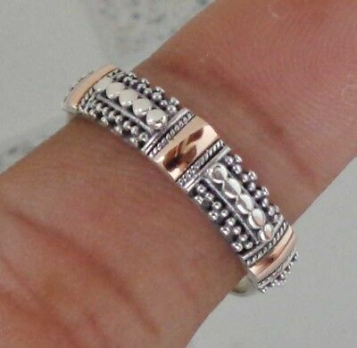 Solid Silver, 925 & 18K Gold Bali Handcrafted Ring 38745