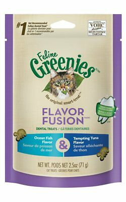 GREENIES FELINE Dental Treats Flavor Fusion Fish and Tuna Cats Treats 2.5 oz