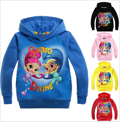 New Girls Shimmer and Shine Hoodies Kids Casual Jumper Pullover SweatShirt Tops