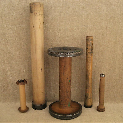 Vintage Wood Industrial Textile Sewing Bobbins Spindles Spools Mix Lot Of 5