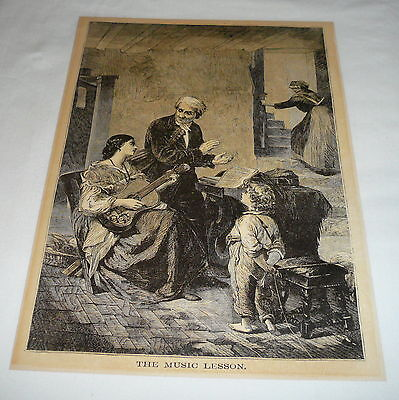 1877 magazine engraving ~ THE MUSIC LESSON