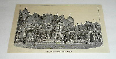 1878 magazine engraving ~ THE SOUTH FRONT OF HOLLAND HOUSE ~ UNITED KINGDOM