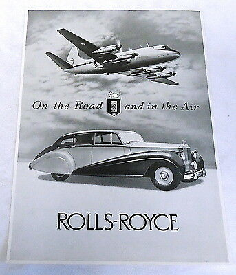 1950 ROLLS-ROYCE car ad page ~ On the Road & in the Air