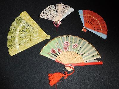 Lot of Vintage Miniature Hand Fans Wood Silk and Celluloid
