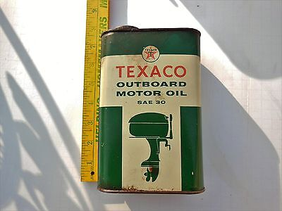 Vintage Texaco Outboard Boat Motor Oil Tin Can