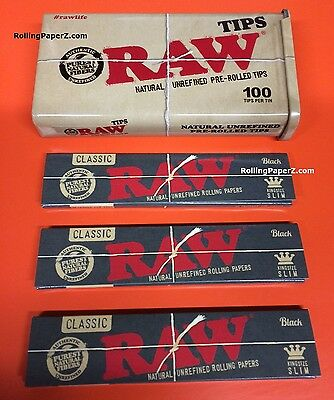 3 Packs of RAW BLACK King Size Slim Rolling Papers+100 Pre Rolled TIPS IN A TIN