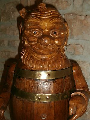c1880/1900   black  forest  WOOD  CARVED  LRG  SIGNED *Gnome  /KEG/Barril 23 ""