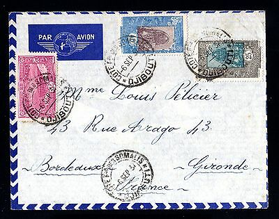 15001-COTE FRANÇ.des SOMALIS-AIRMAIL COVER DJIBOUTI to BORDEAUX(france)1937.WWII