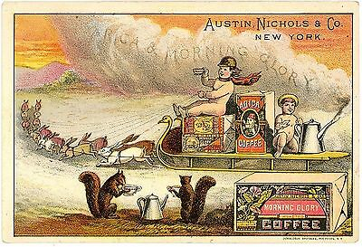 Morning Glory Coffee Trade Card - Sled Pulled by Rabbits  Squirrels Drink Coffee