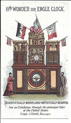 c1880 Trade Card,  Engle Monumental Clock, Exhibited Throughout U.S.,