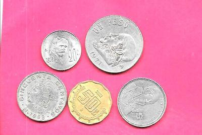 Mexico Mexican 5 Diff Different 1968-2002 Used Coin Lot Collection Set W Old