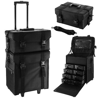 2in1 Makeup Nail Case Hairdressing Oxford Vanity Beauty Cosmetic Box Trolley