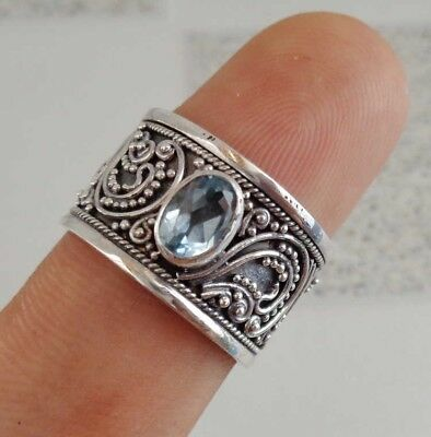 Blue Topaz Solid Silver, 925 Balinese Traditional Design Ring 38707