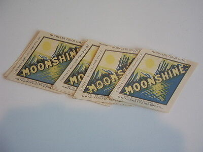 10 Moonshine bottle labels H.W. Faulkner Mt. Vernon, Illinois UNUSED!