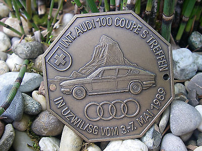 vintage INTERNATIONAL AUDI 100 COUPE MEETING CAR grille Badge SWITZERLAND