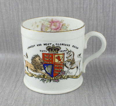 Foley (Pre Shelley)  Queen Victoria Diamond 1897 Jubilee China Mug Floral Inner