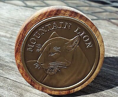 Mountain Lion bronze challenge coin Canary wood wine stopper Cougar Puma