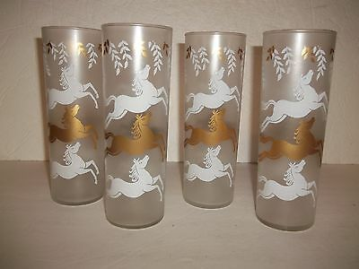 4 Libbey Vintage Equine Wild Horses Frosted Satin Glass Tumbler Ice Tea Glasses