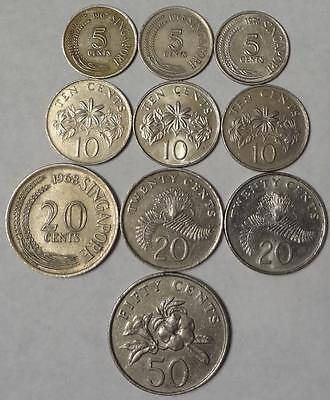 1967-1996 SINGAPORE, LOT OF 10 DIFFERENT COINS, 5 to 50 CENTS