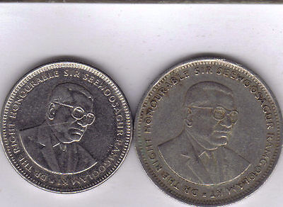 2 DIFFERENT COINS from MAURITIUS - 1/2 & 1 RUPEE (BOTH DATING 1990)