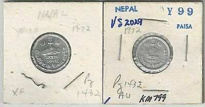 2 DIFFERENT COINS from NEPAL - 1 & 2 PAISA (BOTH DATING 1972)