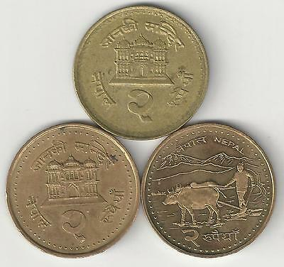3 DIFFERENT 2 RUPEE COINS from NEPAL (2001, 2003 & 2006)