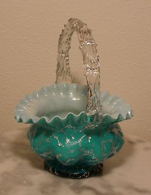 Victorian Antique Art Glass Stevens and Williams Silver Mica Handled Basket