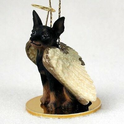 Miniature Pinscher Min Pin Black Tan Dog ANGEL Ornament Figurine Statue