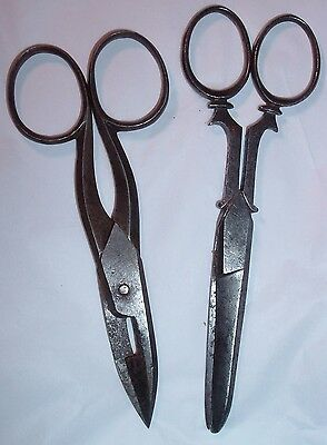 Two Antique 19th century Pairs Sewing Scissors BOKER and ZRT