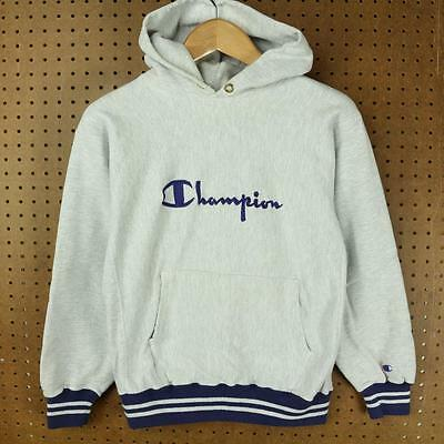 vtg 90's usa made CHAMPION reverse weave hoodie sweatshirt LARGE tag gray logo