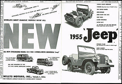 1955 Willy's Jeep CJ-5, Universal, Station Wagon, Truck 2 Page Vintage Print Ad