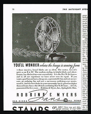 1936 Robbins & Meyers RM Deluxe Fan Vintage Print Ad