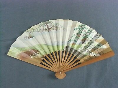 SU29 Japanese Sensu Hand Made  Bamboo Paper Hand painted 6in Vtg Folding Fan