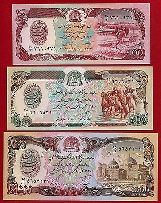 Afghanistan P-58, P-60, P-61 Uncirculated Set #2 FREE SHIPPING