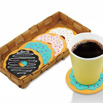 4Pcs Cute Donut Coasters Silicone Cushion Mug Cup Holder Tea Coffee Cup Pad Mat