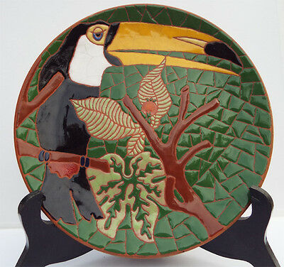 """Pottery with Enamal Plate of a Toucan.  Beautiful bright jungle colors, 7.5"""""""
