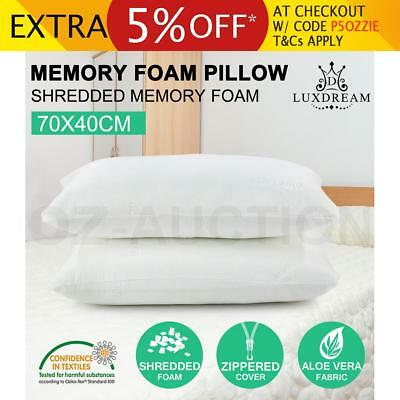 2 x ECO-Aloe Vera Pillow Memory Foam Shredded Visco Elastic Fabric Cover 70x40CM