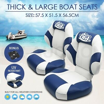 OGL New 2 X Deluxe Premium Cruiser Marine Folding Boat Seat Swivel All Weather