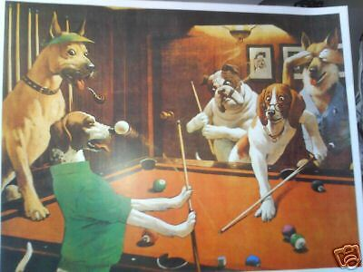Complete Set Of 5 Dogs Playing Pool Prints