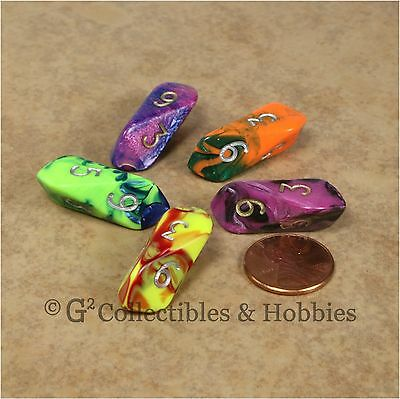 NEW 5 Crystal Caste D6 Toxic Dice Set - 5 Colors D&D RPG Game Barrel Six Sided