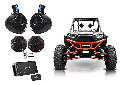 "(2) Rockville 8"" Tower+(2) LED Speakers+4-Ch Bluetooth Amp+Remote ATV/UTV/RZR"