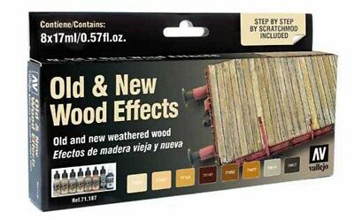 (15,18€/100ml) Vallejo Model Air Old & New Wood Effects Set Airbrush Farbe