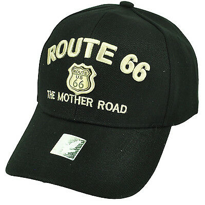 b9ee87bd351 Historic Route 66 US First Highway Hat Cap Black Gold The Mother Road  Adjustable
