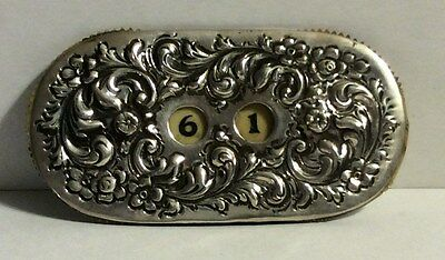 Antique The Merrill Shops Sterling Silver  Scrolls Flowers Knitting Counter #488