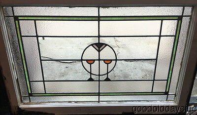 "Antique Prairie Style Stained Leaded Glass Window 34"" by 23"""