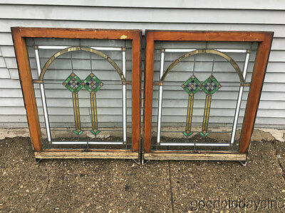 "2 of 9 Antique 1920's Chicago Bungalow Stained Leaded Glass Windows 33 1/2"" x 27"