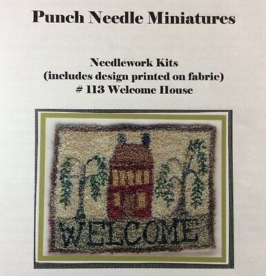 Karen Amadio Gates Punchneedle Embroidery Welcome House Folk Art Miniature