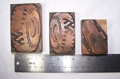 3 Copper on Wood Advertising Printer Blocks ~ Mansfield Tire & Rubber Co.